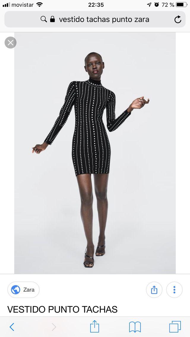 llega cliente primero nueva llegada Vestido punto tachas Zara talla L. de segunda mano por 50 ...
