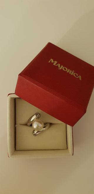 anillo plata majorica