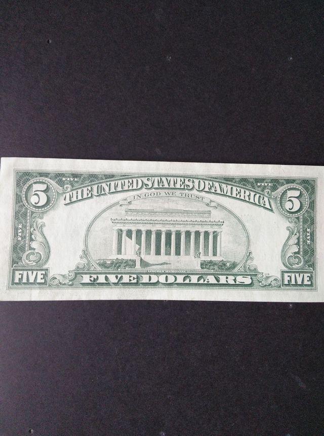 BILLETE 5 DOLARES USA. EBC+