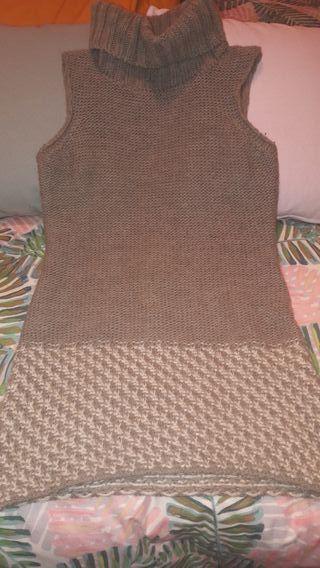 Jersey marrón de lana sin mangas