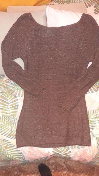 Jersey de lana color marrón con tonos dorados