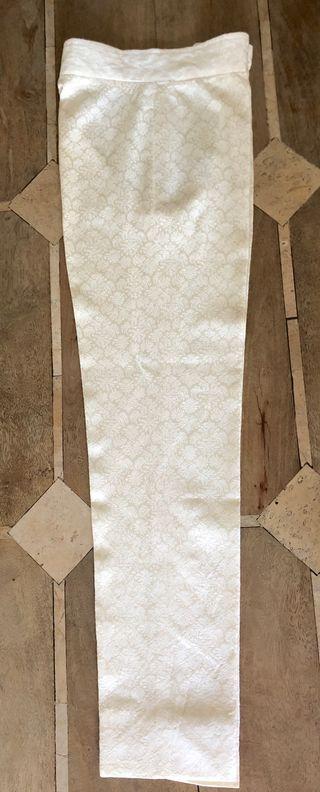 Pantalon blanc cassé en soie brochée vintage T.34-