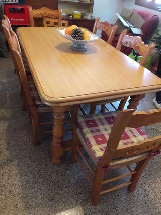 Mesa madera y sillas para comedor rustico
