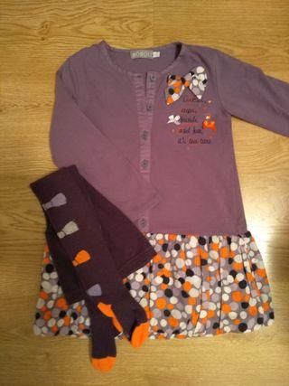 Conjunto vestido+leotardos bóboli 4 años