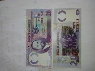 billete Mozambique 20 meticais