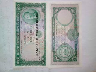 billete Mozambique 100 escudos