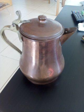 cafetera broce y cobre antigua buena conservacion