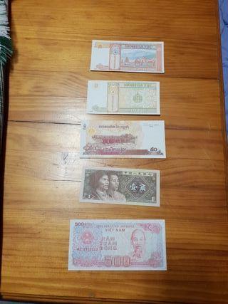 lote 5 billetes Asia