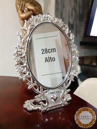 Espejo Barroco Tocador Plata 28cm Alto Peana