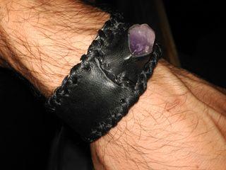 pulsera cuero amatista
