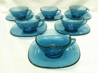 tazas azul vintage