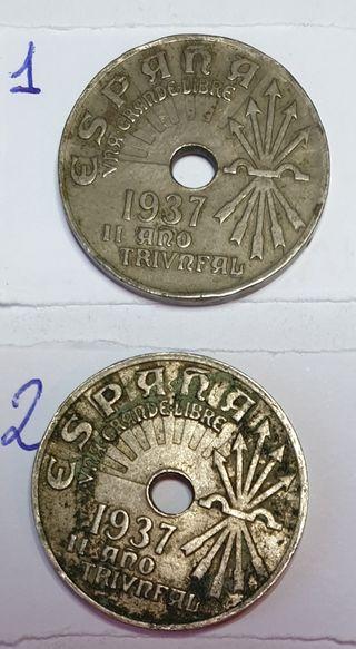 moneda de 25 céntimos de 1937