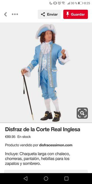 disfraz adulto de la corte real inglesa nuevo