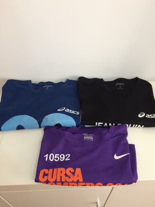 3 camisetas running asics y nike