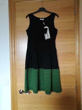 Vestido negro y verde