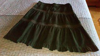 falda de pana fina verde oscuro