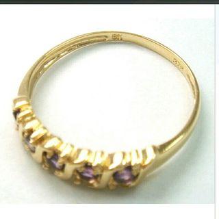 9ct Yellow Gold 5Stones Amethyst Ring