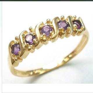 9ct Yellow Gold 5Stones Amethyst Ring