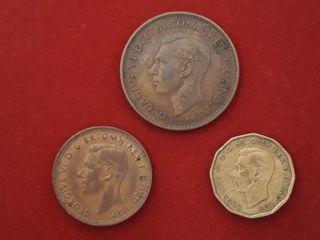 3 monedas WWII Gran Bretaña