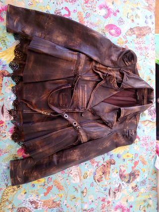 Chaqueta marrón piel Italiana entallada