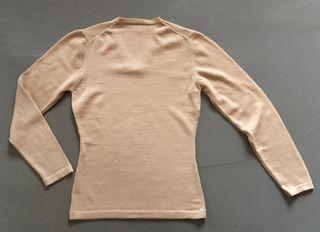 Pull beige col V - 100% laine extra douce T.36