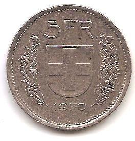 SUIZA,5 FRANCOS 1970.