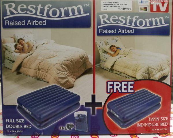 Cama doble + cama individual hinchable.