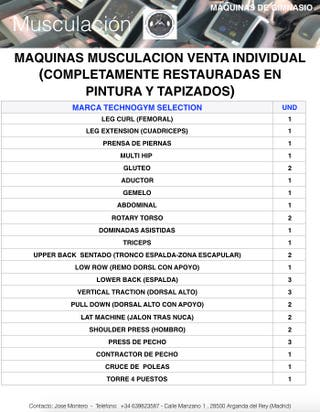 MAQUINAS MUSCULACION TECHNOGYM GIMNASIO