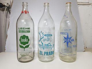 Botellas leche antiguas serigrafiadas