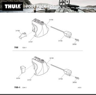 par 108cms THULE 760 Barras De Techo Negro sistema de rápida