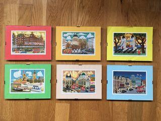 Seis postales Londres. Enmarcadas con cristal.