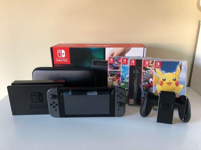 Nintendo Switch + 5 juegos + funda + garantia