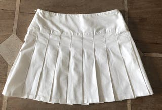 Mini jupe blanche plissé tennis coton stretch T.3
