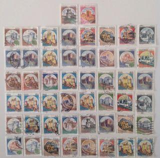 Lote de 50 sellos de Italia en usado- castillos º