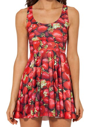 Vestido Digital Print Skater Estampado Fresas Rojo
