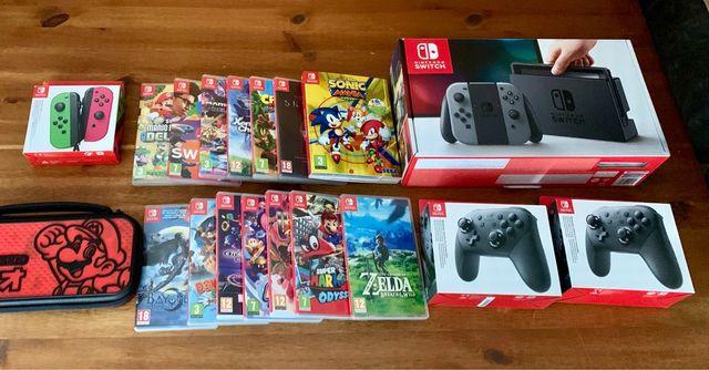 Nintendo Switch 14 Juegos 2 Mandos Pro 2 JoyCon.