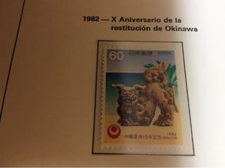 Un sello japonés nuevo,de restitución de okinawa