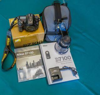 Nikon 7100 con dos objetivos y complementos