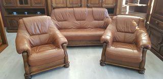 Sofas de Piel Y Roble