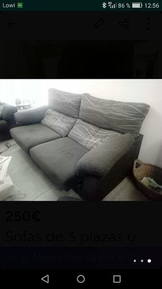 Vendo sofas de 3 y 2 plazas y sillon con motor.