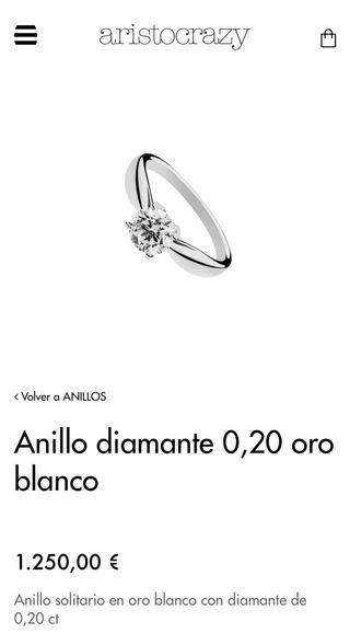 """San Valentin""Anillo diamante 0,20 oro blanco"