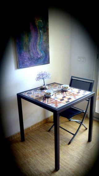 mesa metal y ceramica