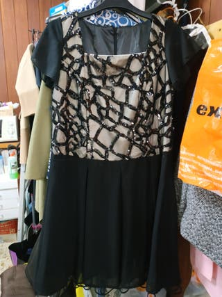 vestido negro con lentejuelas talla 44