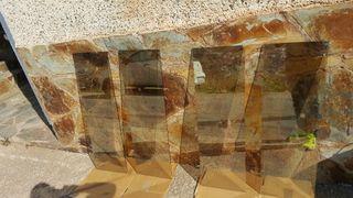 4 vidrios con grabados