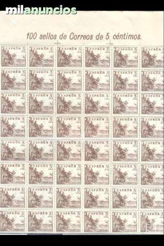 Pliego 100 sellos españa 5 ctm