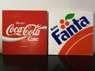 Lote Cartel Coca Cola y Cartel Fanta Vintage