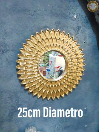Espejo Sol Dorado 25cm Diámetro