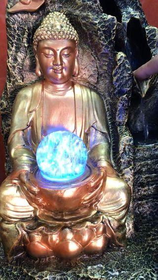 Preciosas fuente Buda grande dorado 47 cm