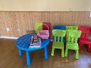 Mesa, sillas y estanterías