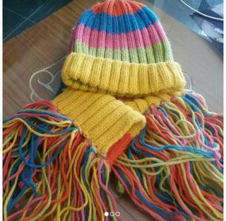pack conjunto gorro y bufanda multicolor lana